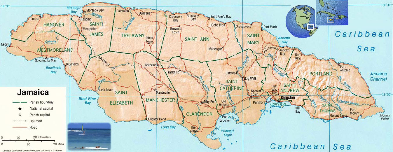Fabian Tours In Jamaica - Map of jamaica showing parishes