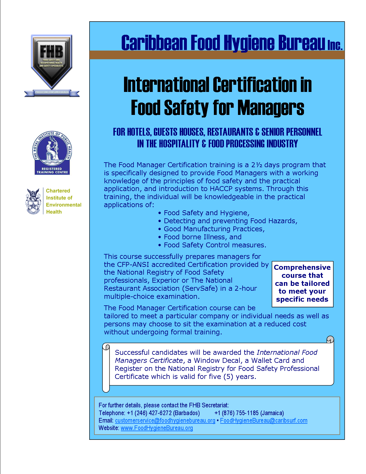 Food hygiene bureau protecting consumer health click to enlarge the food manager certification 1betcityfo Gallery